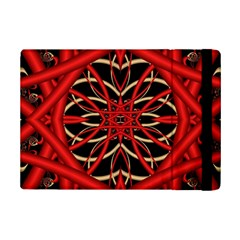 Fractal Wallpaper With Red Tangled Wires Ipad Mini 2 Flip Cases
