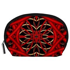 Fractal Wallpaper With Red Tangled Wires Accessory Pouches (large)