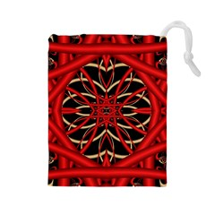 Fractal Wallpaper With Red Tangled Wires Drawstring Pouches (large)