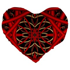 Fractal Wallpaper With Red Tangled Wires Large 19  Premium Flano Heart Shape Cushions