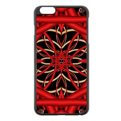 Fractal Wallpaper With Red Tangled Wires Apple Iphone 6 Plus/6s Plus Black Enamel Case