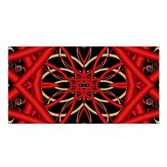Fractal Wallpaper With Red Tangled Wires Satin Shawl