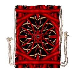 Fractal Wallpaper With Red Tangled Wires Drawstring Bag (large)