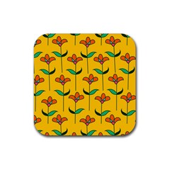 Small Flowers Pattern Floral Seamless Pattern Vector Rubber Square Coaster (4 Pack)