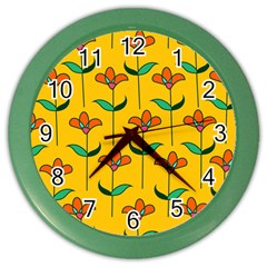 Small Flowers Pattern Floral Seamless Pattern Vector Color Wall Clocks