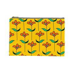 Small Flowers Pattern Floral Seamless Pattern Vector Cosmetic Bag (large)