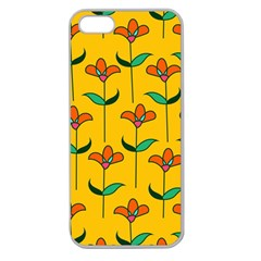 Small Flowers Pattern Floral Seamless Pattern Vector Apple Seamless Iphone 5 Case (clear)
