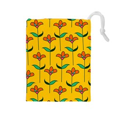 Small Flowers Pattern Floral Seamless Pattern Vector Drawstring Pouches (large)