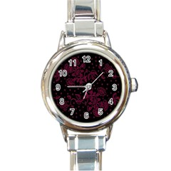 Pink Floral Pattern Background Wallpaper Round Italian Charm Watch