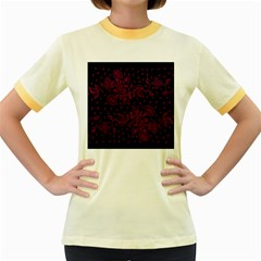 Pink Floral Pattern Background Wallpaper Women s Fitted Ringer T Shirts