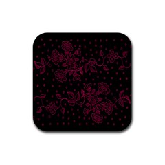 Pink Floral Pattern Background Wallpaper Rubber Square Coaster (4 Pack)