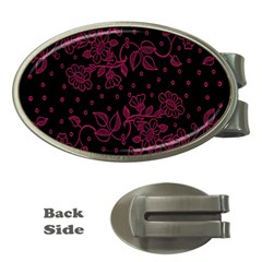 Pink Floral Pattern Background Wallpaper Money Clips (oval)