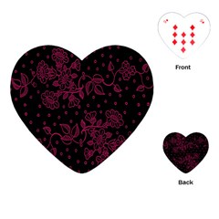 Pink Floral Pattern Background Wallpaper Playing Cards (heart)