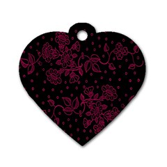 Pink Floral Pattern Background Wallpaper Dog Tag Heart (Two Sides)