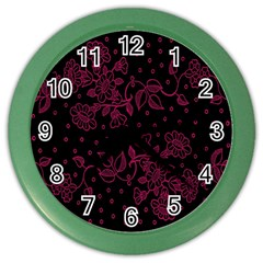 Pink Floral Pattern Background Wallpaper Color Wall Clocks