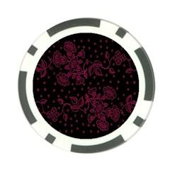 Pink Floral Pattern Background Wallpaper Poker Chip Card Guard