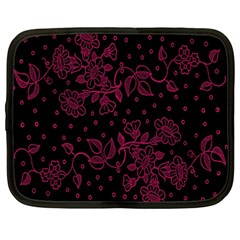 Pink Floral Pattern Background Wallpaper Netbook Case (large)
