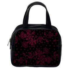 Pink Floral Pattern Background Wallpaper Classic Handbags (one Side)