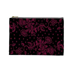 Pink Floral Pattern Background Wallpaper Cosmetic Bag (large)
