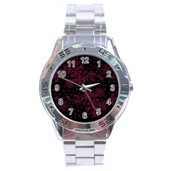 Pink Floral Pattern Background Wallpaper Stainless Steel Analogue Watch