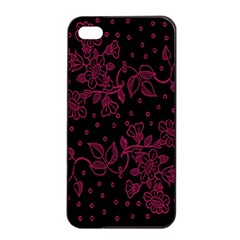 Pink Floral Pattern Background Wallpaper Apple Iphone 4/4s Seamless Case (black)