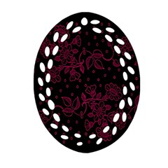 Pink Floral Pattern Background Wallpaper Ornament (oval Filigree)