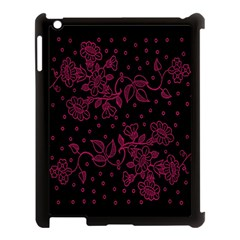 Pink Floral Pattern Background Wallpaper Apple Ipad 3/4 Case (black)