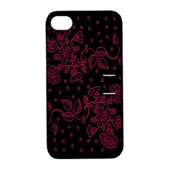Pink Floral Pattern Background Wallpaper Apple Iphone 4/4s Hardshell Case With Stand