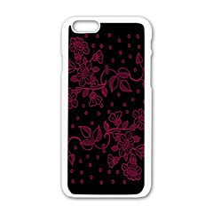 Pink Floral Pattern Background Wallpaper Apple iPhone 6/6S White Enamel Case