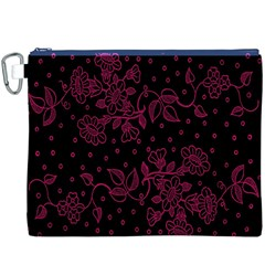 Pink Floral Pattern Background Wallpaper Canvas Cosmetic Bag (xxxl)