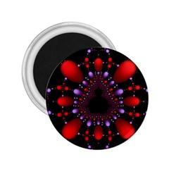 Fractal Red Violet Symmetric Spheres On Black 2.25  Magnets
