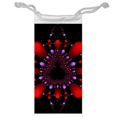 Fractal Red Violet Symmetric Spheres On Black Jewelry Bag