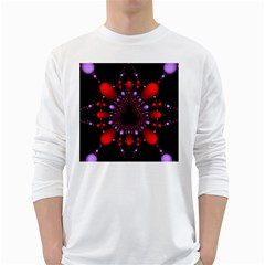 Fractal Red Violet Symmetric Spheres On Black White Long Sleeve T Shirts