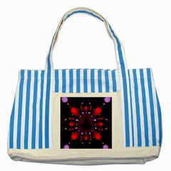 Fractal Red Violet Symmetric Spheres On Black Striped Blue Tote Bag