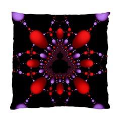 Fractal Red Violet Symmetric Spheres On Black Standard Cushion Case (Two Sides)