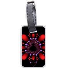 Fractal Red Violet Symmetric Spheres On Black Luggage Tags (two Sides)