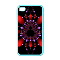 Fractal Red Violet Symmetric Spheres On Black Apple Iphone 4 Case (color)
