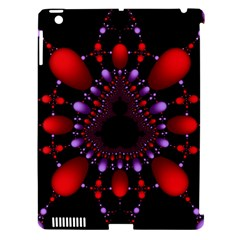 Fractal Red Violet Symmetric Spheres On Black Apple Ipad 3/4 Hardshell Case (compatible With Smart Cover)