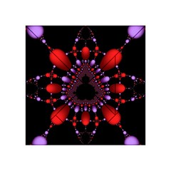Fractal Red Violet Symmetric Spheres On Black Acrylic Tangram Puzzle (4  X 4 )