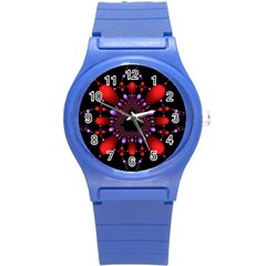 Fractal Red Violet Symmetric Spheres On Black Round Plastic Sport Watch (s)