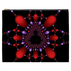 Fractal Red Violet Symmetric Spheres On Black Cosmetic Bag (xxxl)