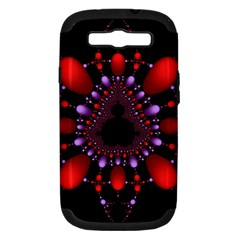 Fractal Red Violet Symmetric Spheres On Black Samsung Galaxy S Iii Hardshell Case (pc+silicone)