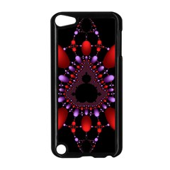 Fractal Red Violet Symmetric Spheres On Black Apple iPod Touch 5 Case (Black)