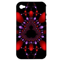 Fractal Red Violet Symmetric Spheres On Black Apple iPhone 4/4S Hardshell Case (PC+Silicone)
