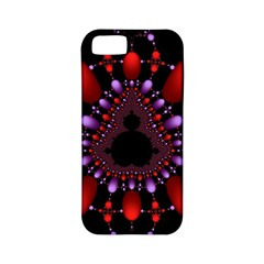 Fractal Red Violet Symmetric Spheres On Black Apple Iphone 5 Classic Hardshell Case (pc+silicone)