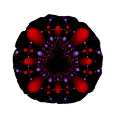 Fractal Red Violet Symmetric Spheres On Black Standard 15  Premium Round Cushions