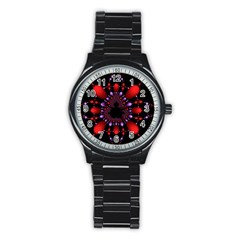 Fractal Red Violet Symmetric Spheres On Black Stainless Steel Round Watch