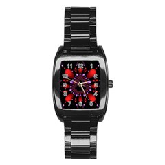 Fractal Red Violet Symmetric Spheres On Black Stainless Steel Barrel Watch