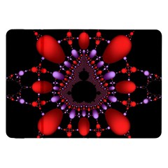 Fractal Red Violet Symmetric Spheres On Black Samsung Galaxy Tab 8.9  P7300 Flip Case