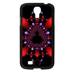Fractal Red Violet Symmetric Spheres On Black Samsung Galaxy S4 I9500/ I9505 Case (black)